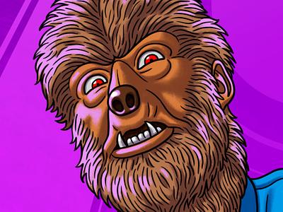 Zox Wolfman halloween monster wristband character photoshop illustration