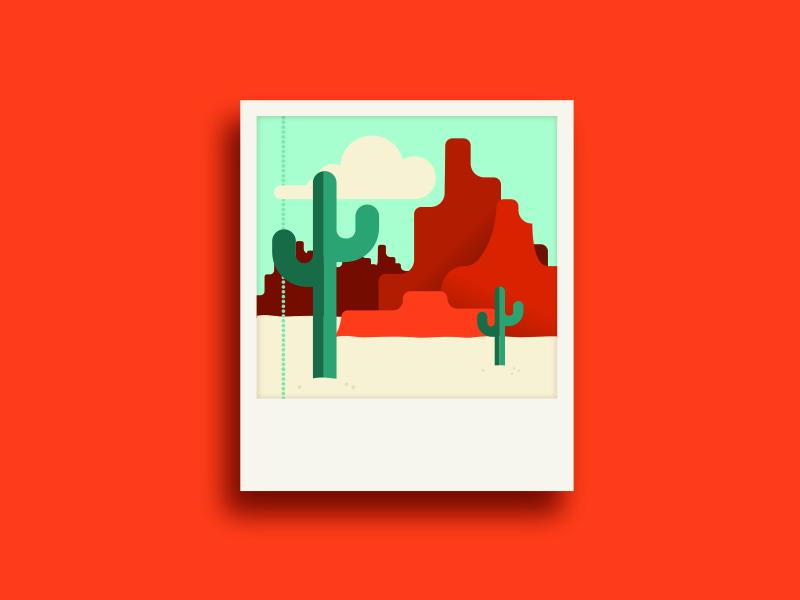 Westward polaroid new mexico mesa cacti cactus west