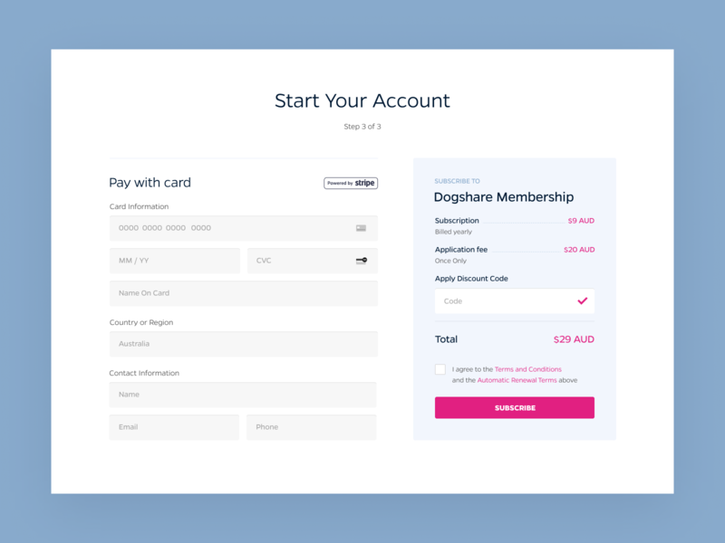 Subscription Payment Form stripe discount code ui design uxui ux card subscribe form subscribe subscription forms pament pay form