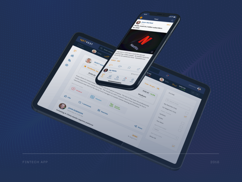 Netvest – FinTech app app android ios investing fintech icon web design ux ui