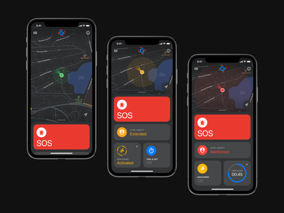 G-Safety App map maps sos man down time alert safety ios ux design app icon ui design uiux ui
