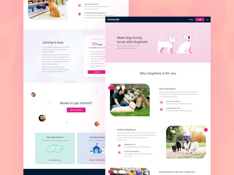 Dogshare Web Design illustration app icon owner zoo web design webdesign dogs dog web landing page design landing page landingpage uiux ui community australia