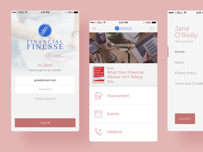 Financial Finesse iOS App sign in events library book application android iphone iconography icons app ux ui icon finesse financial ios app ios