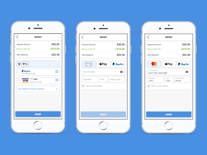 Add a New Credit Card paypal apple pay checkout process ui app designer ui inspiration clean ui ecommerce shopping cart payment form minimal white trust clean simple form deposit shopping credit card checkout