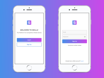 Gaming App Log In dailyui gradient onboarding welcome mobile colors register sign in account minimal app ui ux esports form sign up log in simple clean gaming