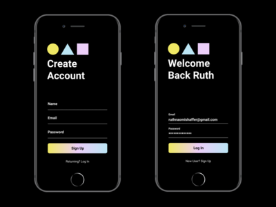 Creative Labs Log In & Sign Up app uiux onboarding pastel typogaphy form icons gradient minimal concept design branding ux login page simple clean ui mobile sign up login