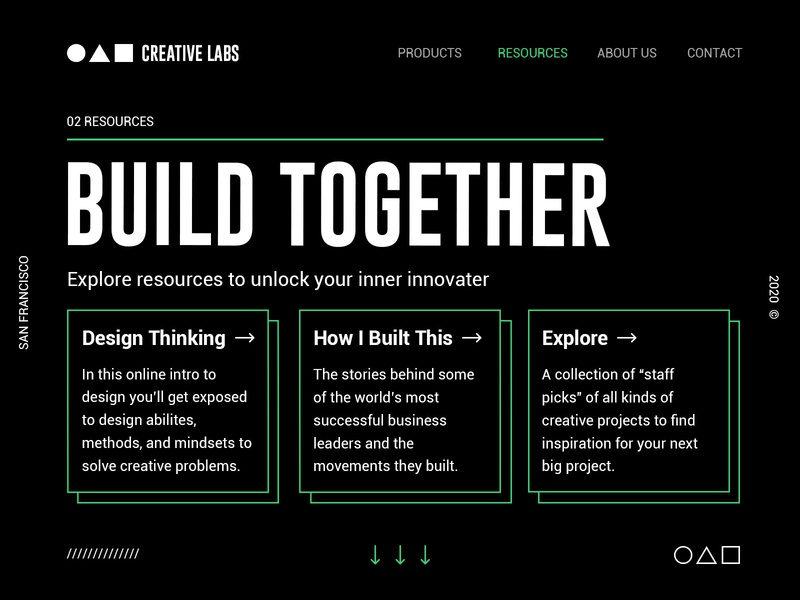 Creative Labs Website Concept branding clean logo minimal simple web design ui dark ui green dark typography graphicdesign website web concept color