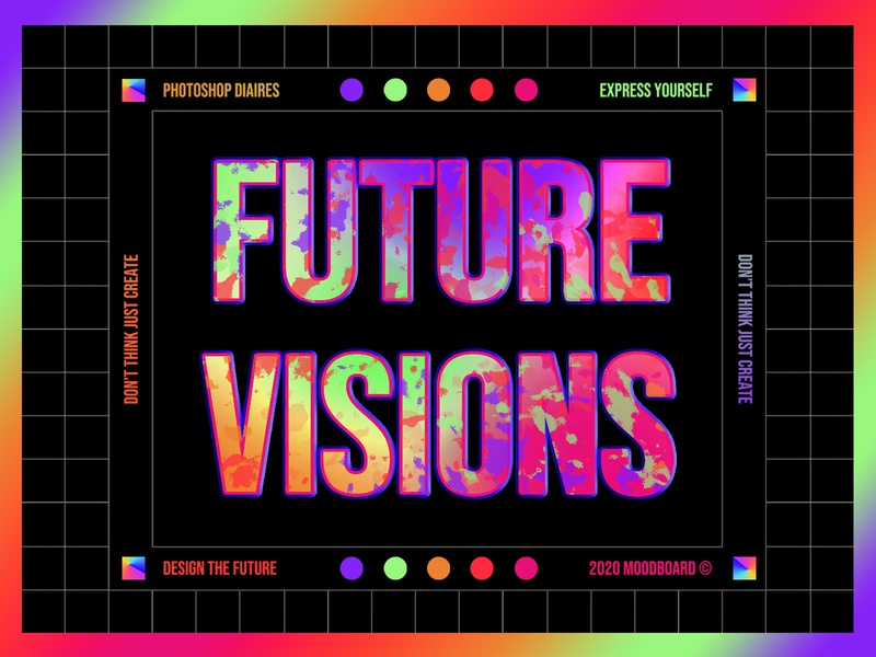 FUTURE VISIONS futurism aesthetic bold music photoshop experimental dark ui daily design type editorial graphic design design creative direction colorful gradient colors typography print branding