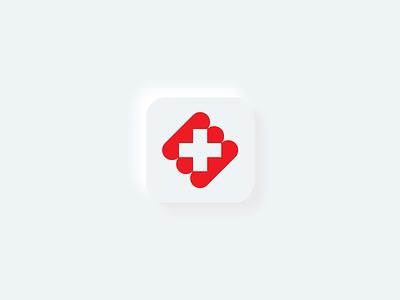 Medelive neumorphic icon delivery service delivery live medicine cross red app icon neumorphism neumorphic