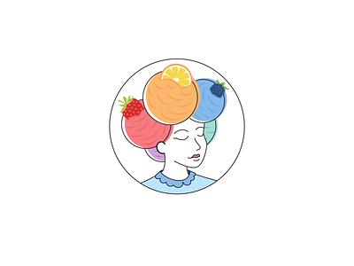 WIP on a logo for an icecream store design round lemon blackberry strawberryluna face purple redesign orange blues colors druits girly lady logo icecream ice cream