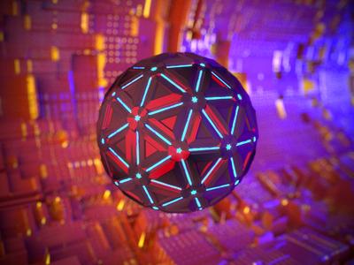 Cinema 4D Corona pratice #2 abstract model 3d array atomic blue red lighting bevel concept sphere cinema4d cinema