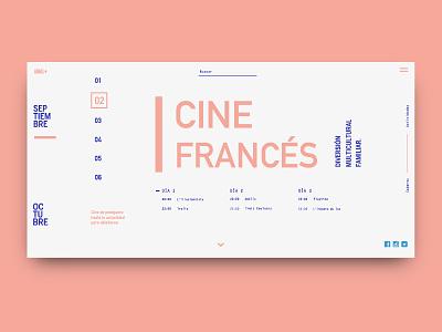 French Cinema / Film Festival branding din grid layout landing typography filmfestival pink