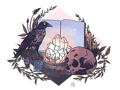 Altar crow crystal leaves skull plants magic photoshop illustration witchcraft