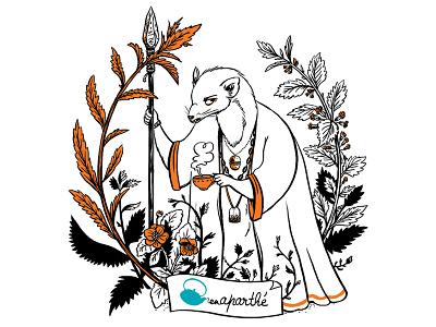 Tote bag photoshop animal plants tea illustration tote bag