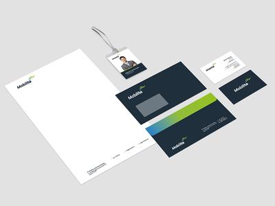 Stationary telco logo envelope name card visual identity branding stationary