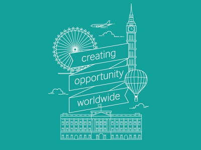 Illustration england london eye buckingham palace big ben british vector illustration