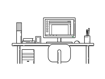 Workspace workspace desk computer illustration vector