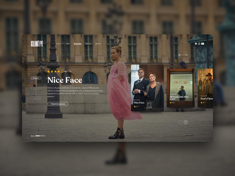 Killing Eve_episodes page concept web design design concept interface tv series desktop killing eve ui  ux