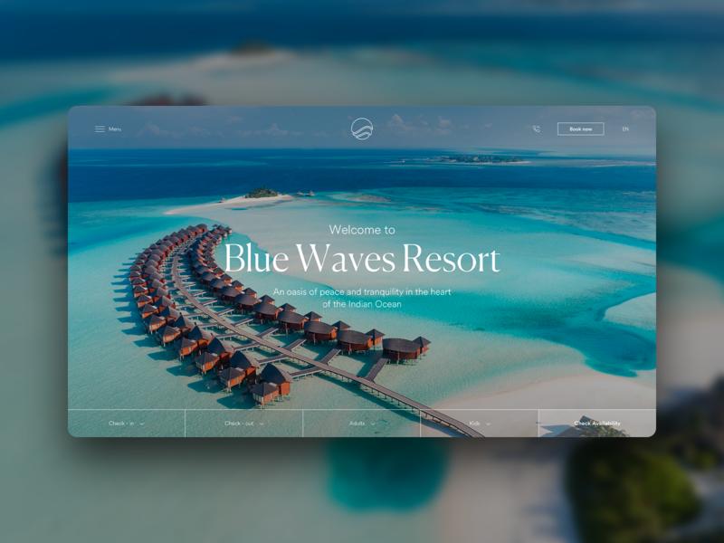 Blue Waves_resort site concept concept typography design booking hotel resort sea web design logo website ui ux