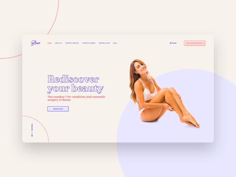 Bloom_site concept beauty interface concept clinic medical plastic surgery desktop website web design typography design ui ux