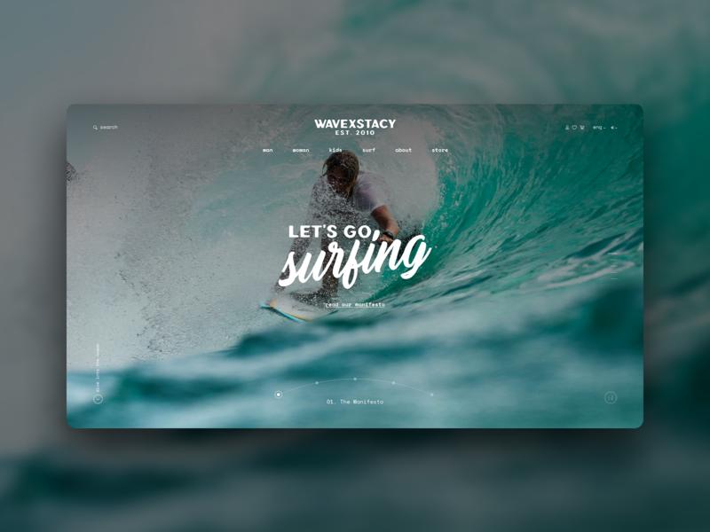Wavexstacy_site concept concept design sea surf sport branding logo website typography ecommerce web design ui ux