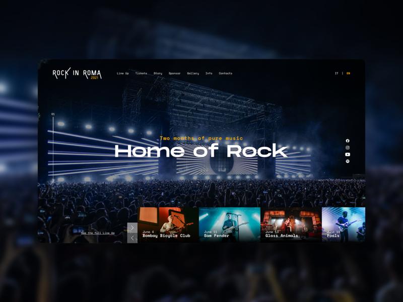 Rock in Roma_site concept gig music desktop website concept concert rome rock typography web design ui ux
