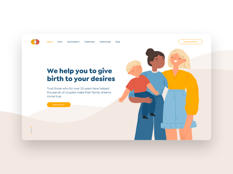 Two Dots_concept site website baby family vector concept lesbian mother mum lgbtq medical clinic web design illustration ui ux