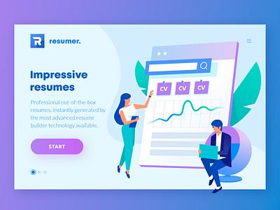 Resumer (Everhire). Web design, and illustrations. resume ui site purple people page landing illustration gradient cv crypto wallet blue