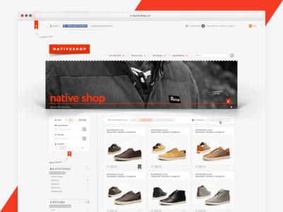 Native Shop Web ux ui shop product menu magazine header fullscreen edition clothes brand