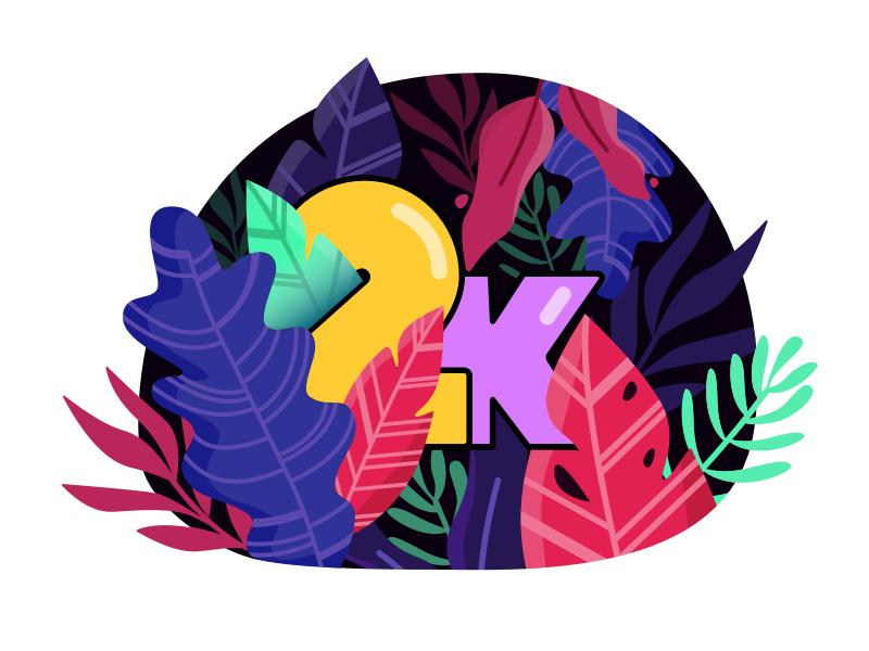 2k Dribbble Followers! 🎉 forest illustration thanks 2k plants leaves team followers