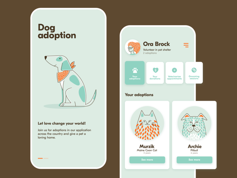 Pets adoption app profile onboarding cat dog flat flat illustration animals adoption pets vector design clean illustration app ui
