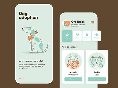 Pets adoption app profile onboarding cat dog flat flat illustration animals adoption pets vector design clean illustration app ui