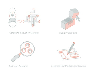 Peer Insight Offering Icons corporate innovation innovation business model color icons design thinking illustration design iconography