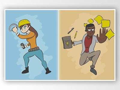 Engineer V. Designer ideas engineers designers characters drawing personas cartoon character design illustration