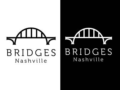 Bridges Logo illustration iconography black and white nonprofit nashville bridge design identity branding logo