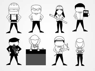 Hospitality Industry Characters black and white illustrator icon design hospitality iconography character
