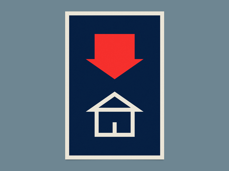 Stay Home corona coronavirus covid-19 psa stay home illustration icons red blue shapes be safe 2020 poster