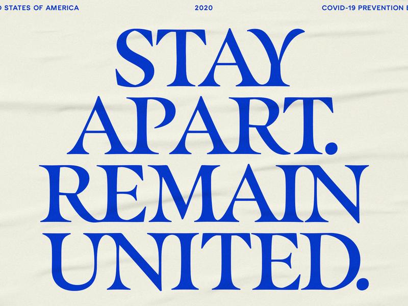Remain United 2020 stay home texture psa poster typography blue serif stars flag america usa covid-19 coronavirus