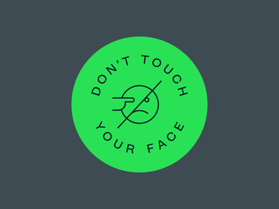 Don't Touch! icon coronavirus covid-19 circle type on a path nope smiley eye poke touch no touching green lockup badge face