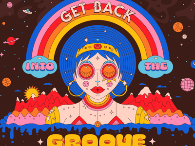Get Outta That Funk sparkles dripping pink blue saturated 70s vinyl mountains groove funky funk rainbow hidden skull space illustration