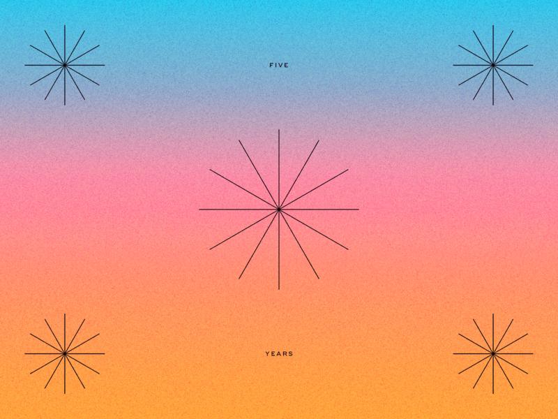 Five Years color texture bursts simple pink blue orange gradient