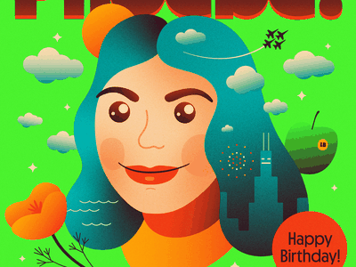 Phoebe! texture clouds exclamation birthday saturation face gradients bright color green chicago illustration