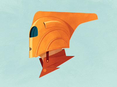 The Rocke-who? cliff secord rocketeer helmet illustration orange 1991 disney subtle texture