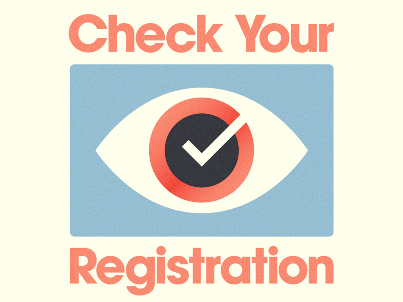 Check Your Registration illustration eyecon avant garde typography check eye usa democracy register election vote national voter registration day