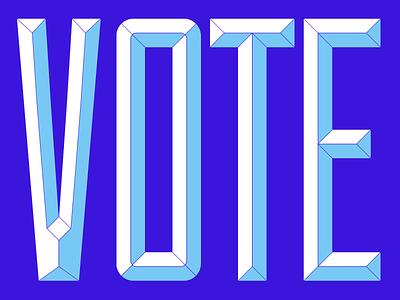 VOTE typography beveled custom type type november 2020 election 2020 election blue vote