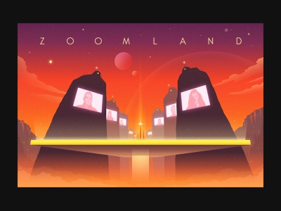Zoomland illustration space orange virtual meeting meeting screens dystopia 70s science fiction sci-fi leo burnett these times covid zoom