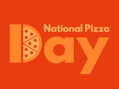 National Pizza Day pizza cheesy orange logo pizza day national pizza day