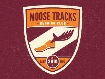 Moose Tracks Running Club Logo moose shoe antlers running club tracks maroon orange st. louis