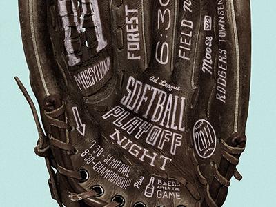 Softball Playoff Poster glove softball baseball hand type attachment poster hand-drawn type