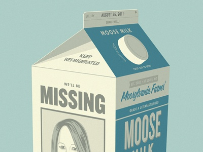 Erica Farewell Poster milk poster blue missing illustration vector milk carton